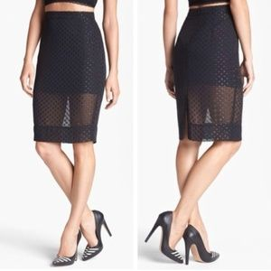 Leith from Nordstrom Sheer Dots Shine Pencil Skirt